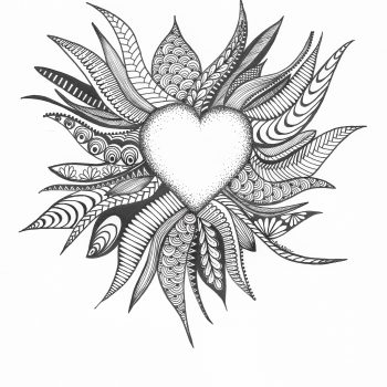 Exploding Love Zentangle Drawing