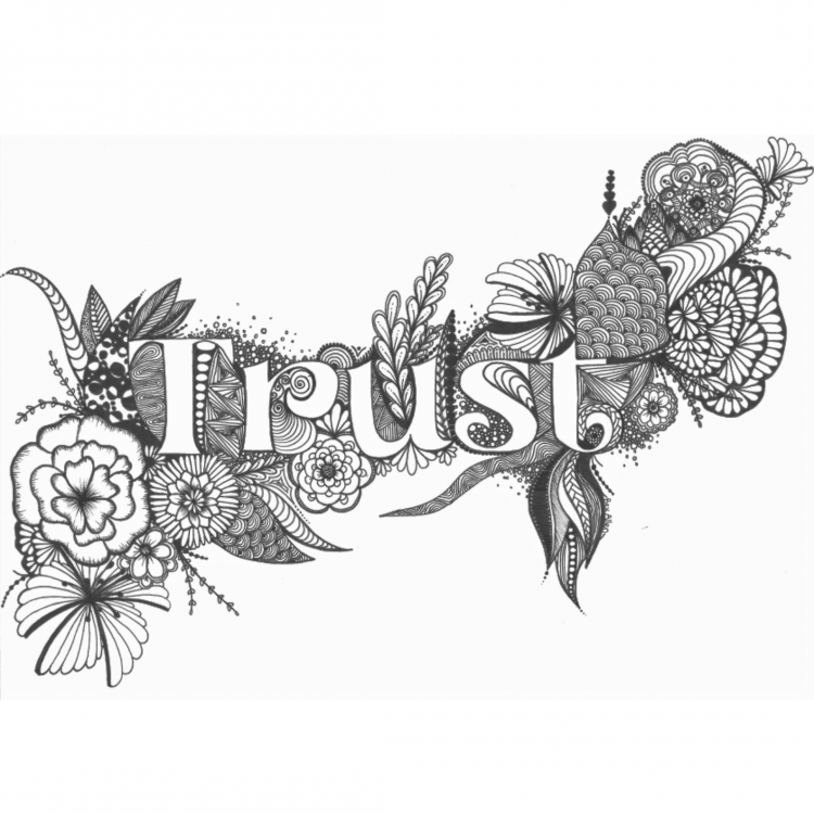 Zentangle design around the word Trust